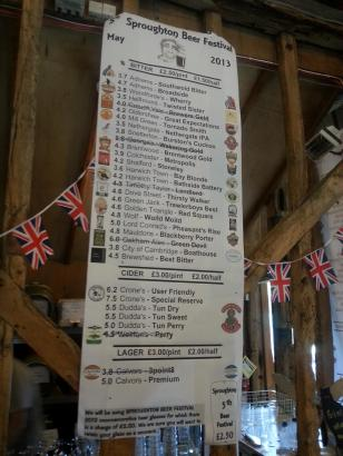Sproughton Beer list