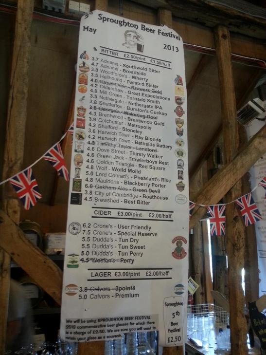 Sproughton Beer list